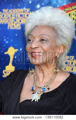 Nichelle Nichols arrives at the 42nd Annual Saturn Awards on Wednesday, June 22, 2016 at the Castaway Restaurant in Burbank, CA.