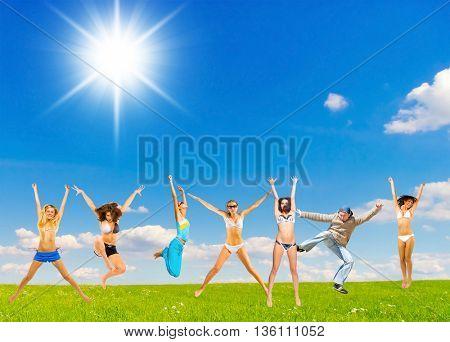 Joyful Celebrating on a Meadow