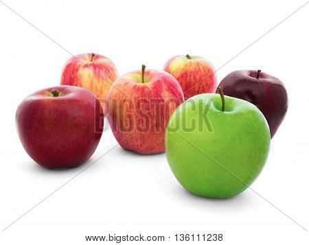 Group of apples varieties (New Zealand Eve Granny Smith Ambrosia Green Gala Divine Red Fuji) Isolate on White Background with Clipping Path