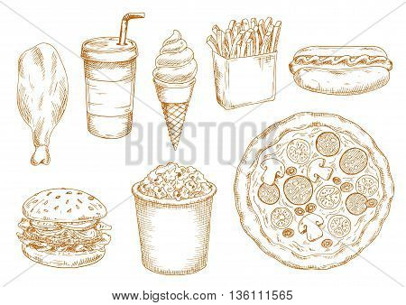 Fresh cooked hamburger and hot dog, pepperoni pizza with vegetables and chicken leg, french fries and popcorn, sweet soda drink and soft serve ice cream cone sketches. Retro stylized fast food menu design