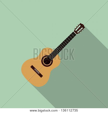 Acoustic guitar flat design isolated vector illustration