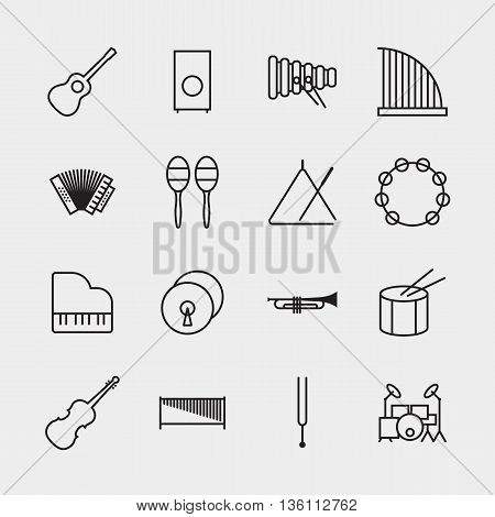 Music instrument icons outline isolated vector illustration