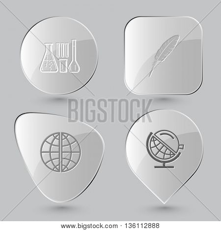 4 images: chemical test tubes, feather, globe, globe and loupe. Education set. Glass buttons on gray background. Vector icons.