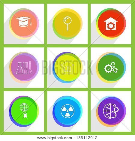 9 images: repair shop, gears, globe and gears, magnifying glass, library, radiation symbol, graduation cap, chemical test tubes, little man with globe. Science set. Internet template. Vector icons.