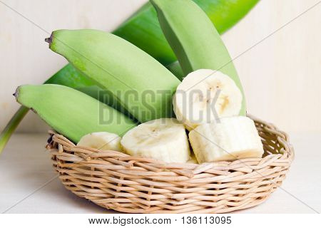 Banana (Other names are Musa acuminata Musa balbisiana and Musa x paradisiaca) fruit with banana leaf on basket poster