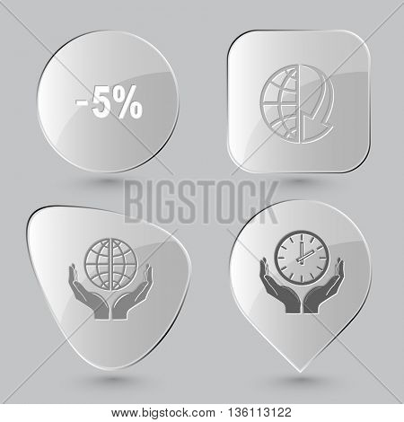 4 images: -5%, globe and array down, protection world, clock in hands. Business set. Glass buttons on gray background. Vector icons.