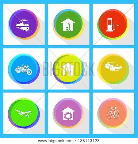 9 images: fueling station, workshop, train, car, car fueling, motorcycle, bicycle, repair shop, airliner. Transport set. Internet template. Vector icons.