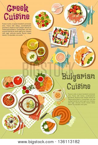 Typical national dishes of Greece and Bulgaria symbol of greek and bulgarian vegetable salads with cheese, olives, tzatziki and tomato sauces, grilled kebabs and feta, cold soup and bean stew, souvlaki with fries and spicy octopus, cheese pie and creamy d