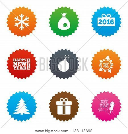 Christmas, new year icons. Gift box, fireworks and snowflake signs. Santa bag, salut and decoration ball symbols. Stars label button with flat icons. Vector
