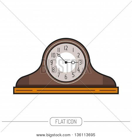 Flat colored mantel clock isolated on white background. Vector illustration