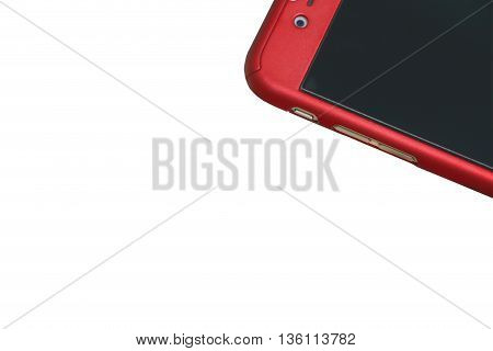 Smartphone on the white background,Red Smartphone .