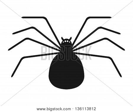 Black silhouette of spider on white background. Flat icon object. Vector illustration.