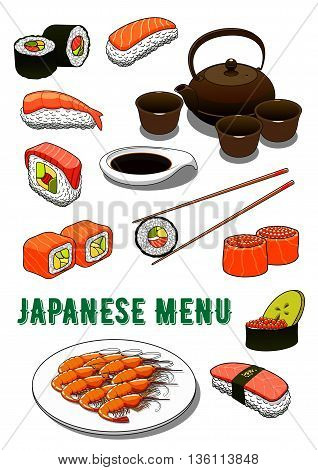 Traditional japanese sushi rolls and nigiri, futomaki and gunkan icons served with marinated salmon, tuna and shrimps, avocado and roe, spicy teriyaki prawns and soy sauce, ceramic tea set and chopsticks