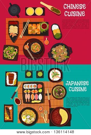 Japanese omakase sushi and chinese fried dumplings symbol with soba and udon noodles, rice with kobe beef and orange fruits, spring pancakes and shrimp salad, various of soups, fish skewers and clams with sauces, ginger and green tea. Flat style
