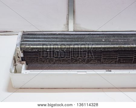 Dirty squirrel cage fan in air conditioner, air conditioner fan.
