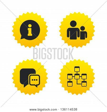 Information sign. Group of people and database symbols. Chat speech bubbles sign. Communication icons. Yellow stars labels with flat icons. Vector