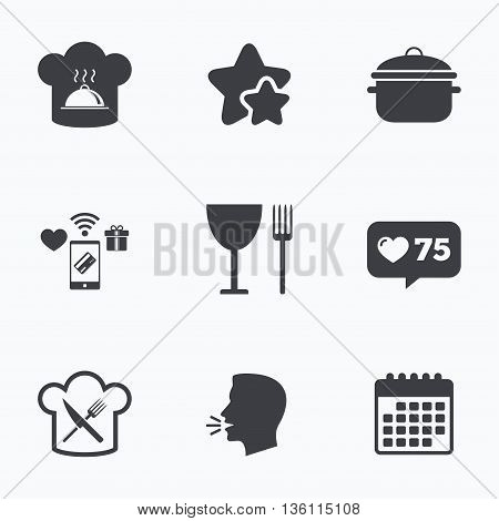 Chief hat and cooking pan icons. Crosswise fork and knife signs. Boil or stew food symbols. Flat talking head, calendar icons. Stars, like counter icons. Vector