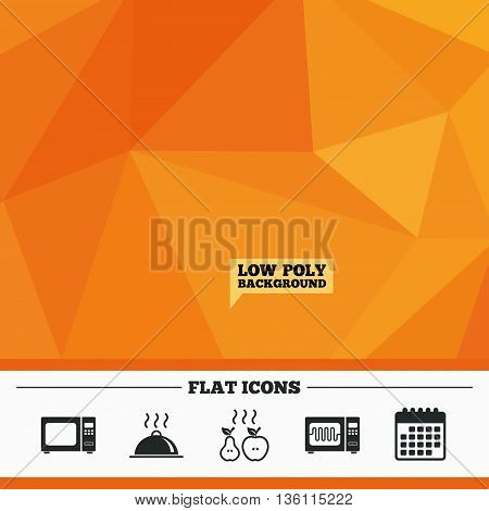 Triangular low poly orange background. Microwave grill oven icons. Cooking apple and pear signs. Food platter serving symbol. Calendar flat icon. Vector