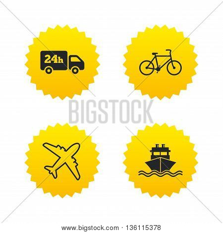 Cargo truck and shipping icons. Shipping and eco bicycle delivery signs. Transport symbols. 24h service. Yellow stars labels with flat icons. Vector