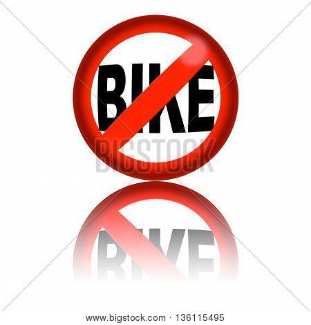 No Bike Sign 3D Rendering