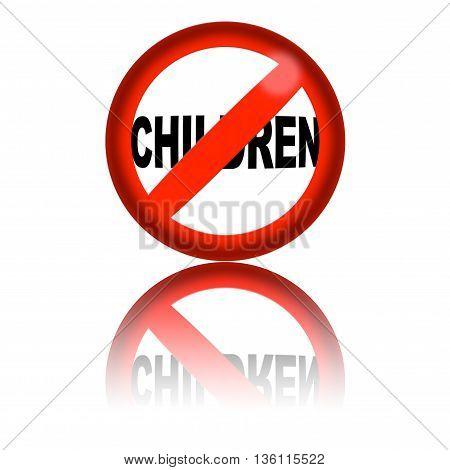 No Children Sign 3D Rendering