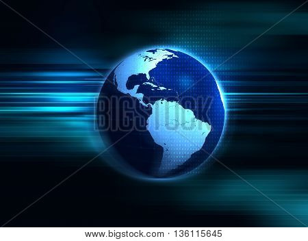 3D Rendering Of Earth Futuristic Technology Abstract Background Illustration
