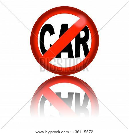 No Car Sign 3D Rendering