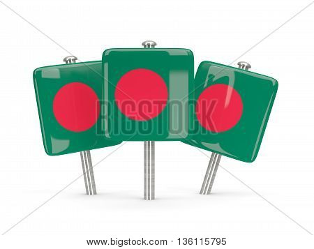 Flag Of Bangladesh, Three Square Pins