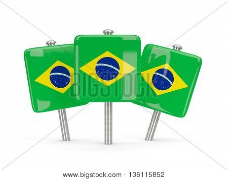 Flag Of Brazil, Three Square Pins