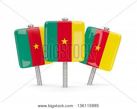 Flag Of Cameroon, Three Square Pins