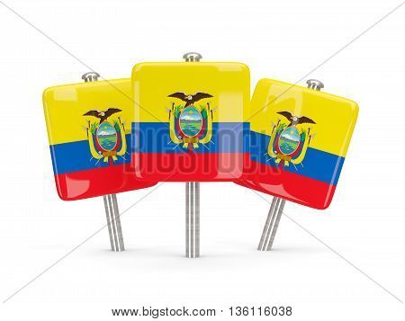 Flag Of Ecuador, Three Square Pins