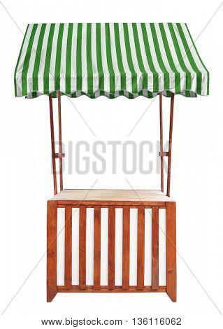 Wooden market stand stall with striped awning
