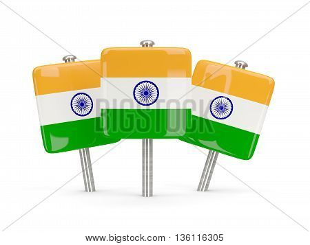 Flag Of India, Three Square Pins