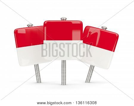 Flag Of Indonesia, Three Square Pins