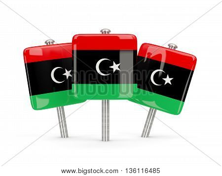 Flag Of Libya, Three Square Pins