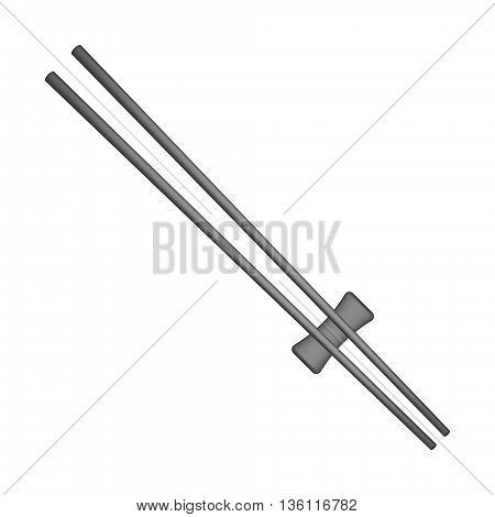 Wooden chopsticks in black design on white background