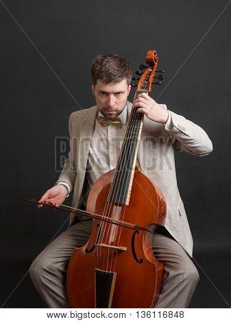Portrait of a man playing the viola da gamba
