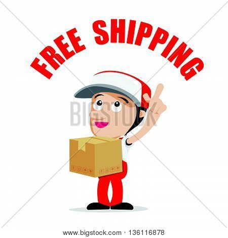 Smile delivery man handling the box and package delivery cartoon with text free shipping vector illustration eps10