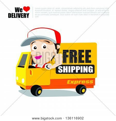 Smile delivery man thumb up on truck and package delivery cartoon vector illustration eps10