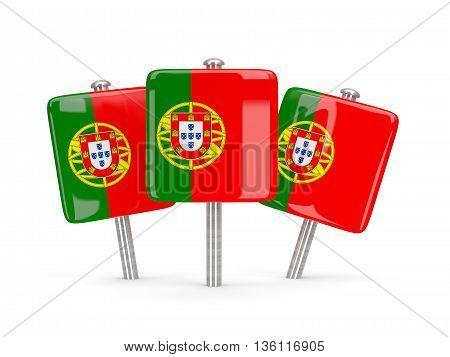 Flag Of Portugal, Three Square Pins