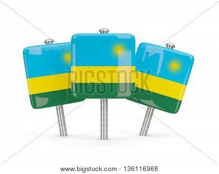 Flag Of Rwanda, Three Square Pins