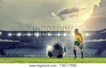 Soccer forward player  . Mixed media