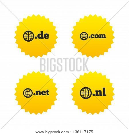 Top-level internet domain icons. De, Com, Net and Nl symbols with globe. Unique national DNS names. Yellow stars labels with flat icons. Vector