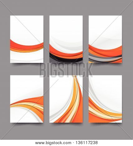 Abstract background collection of curve wave orange and white background vector illustration eps10
