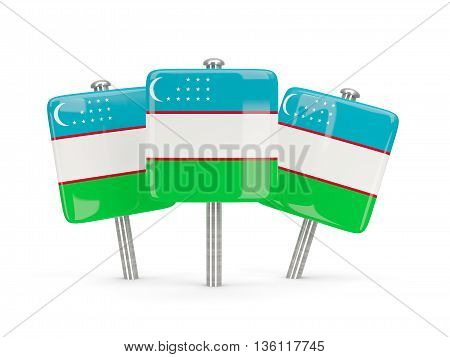 Flag Of Uzbekistan, Three Square Pins