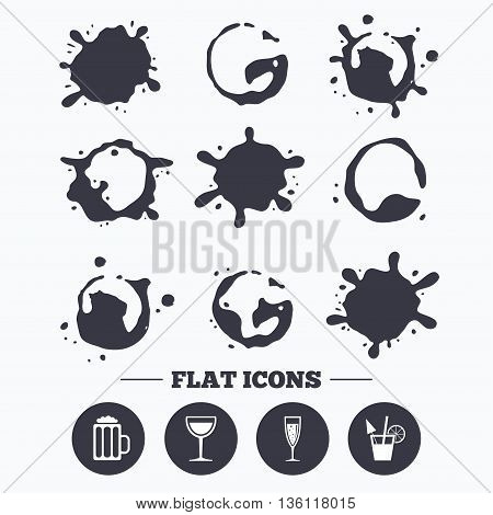 Paint, coffee or milk splash blots. Alcoholic drinks icons. Champagne sparkling wine with bubbles and beer symbols. Wine glass and cocktail signs. Smudges splashes drops. Vector
