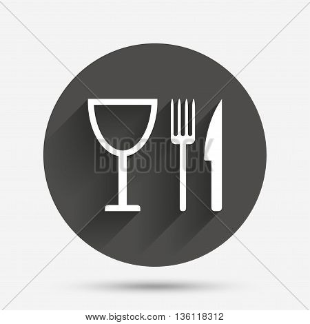 Eat sign icon. Cutlery symbol. Knife, fork and wineglass. Circle flat button with shadow. Vector