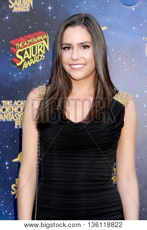 Savannah Lathem arrives at the 42nd Annual Saturn Awards on Wednesday, June 22, 2016 at the Castaway Restaurant in Burbank, CA.