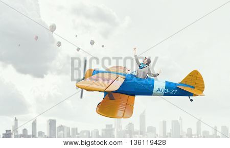 Girl flying old plane . Mixed media