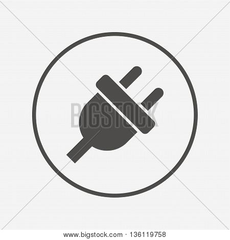Electric plug sign icon. Power energy symbol. Flat electricity icon. Simple design electricity symbol. Electricity graphic element. Round button with flat electricity icon. Vector